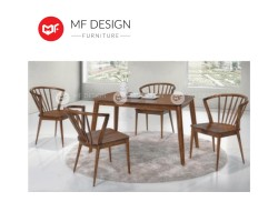 MF DESIGN Blush Dining Set (1 Table + 4 Chair) - Scandinavian Style [Full Solid Rubber Wood]